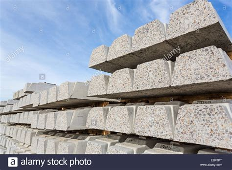 Stacked Concrete Sleepers by Concrete Railway Sleepers Stacked Awaiting Railway Line
