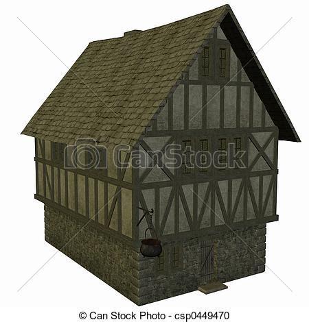 casa medievale casa medievale render 3d illustrazione d archivio