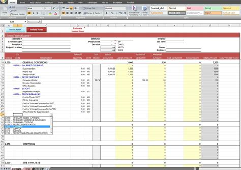 estimate template excel building estimation and costing excel sheet estimating