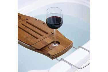 sustainable bamboo bath caddy w book stand wine glass