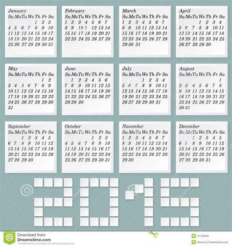 Calendario A Settimane 2015 Calendario Semplice 2015 Illustrazione Vettoriale