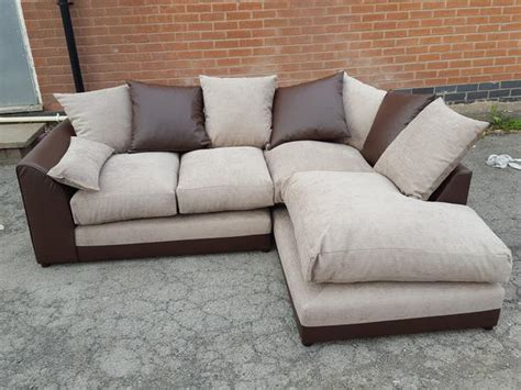 brown leather sofa with fabric cushions brand new corner sofa brown leather base and beige fabric