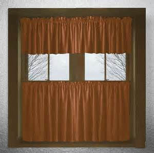 Rust Colored Curtains Solid Rust Colored Cotton Kitchen Tier Cafe Curtains
