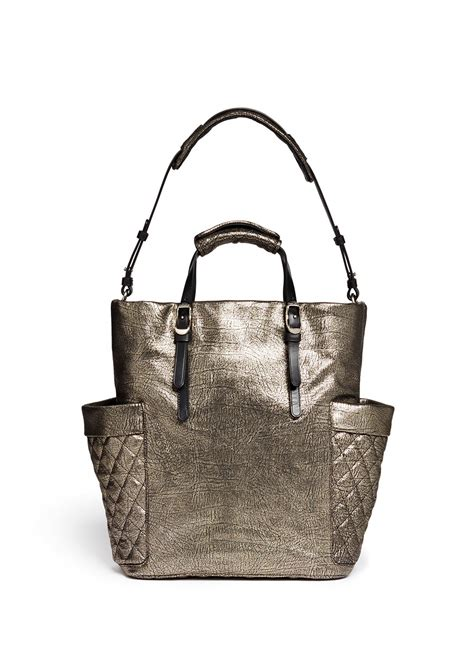 Jimmy Choo Metallic Calfskin Handbag by Jimmy Choo Blare Crackled Metallic Tote Bag In Metallic