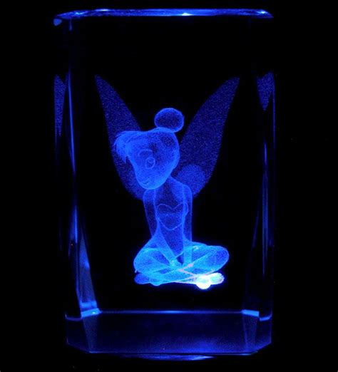 3 Quot 3d Laser Crystal Disney Tinkerbell 1 With Light Base Light Tinkerbell