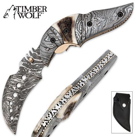 folding karambits timber wolf damascus stag folding karambit knife with