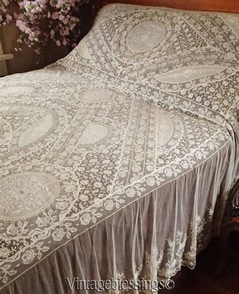 lace coverlet bedding exceptional antique french normandy lace antique bedspread