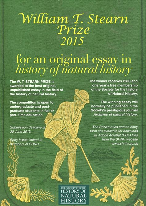 Endocrinology Society Essay Prize by Shnh Invites Submissions To The Stearn Student Essay Prize 2015 For History Society