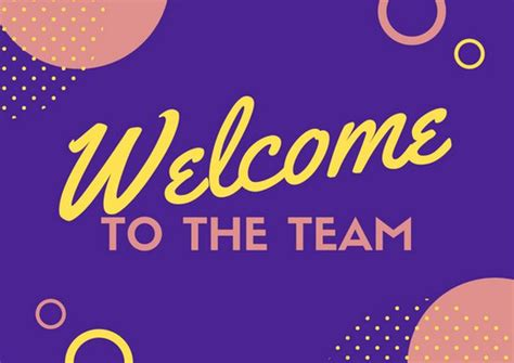 Welcome To The Team Card Template by Blue Pink And Yellow Circles Welcome Card Templates By Canva