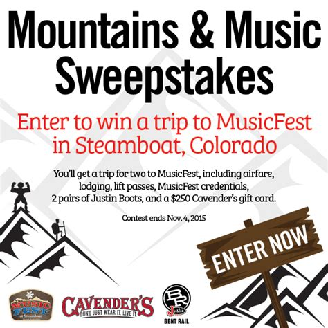 Cavender S Gift Card - 2015 mountains music sweepstakes cavender s ranch