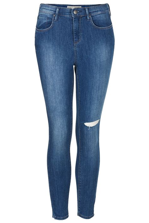 Knee Ripped Washed Premium Quality All Brand New lyst topshop blue ripped knee in blue