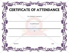 attendance certificate template word templates for certificates of attendance http