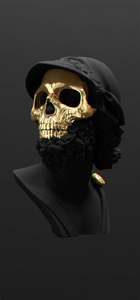 gold skull all black but gold on behance 3d gold