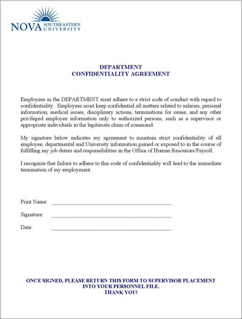 human resources confidentiality agreement template human resources confidentiality agreement templates