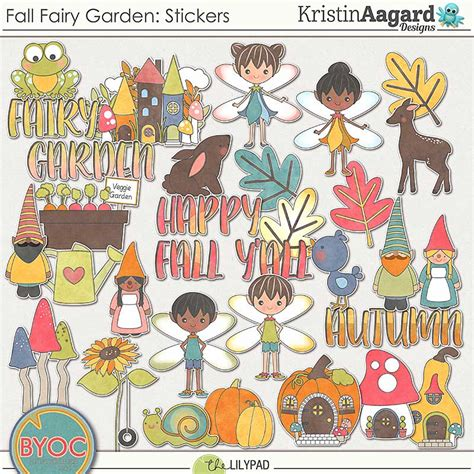 Stiker Digital digital scrapbook stickers fall garden kristin