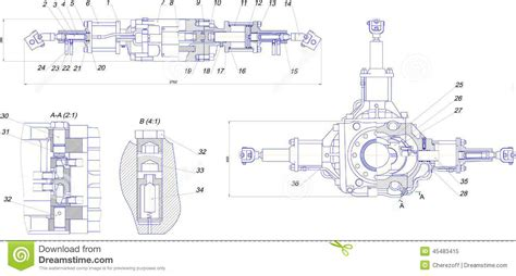 eps format to dwg engineering drawing of industrial equipment stock