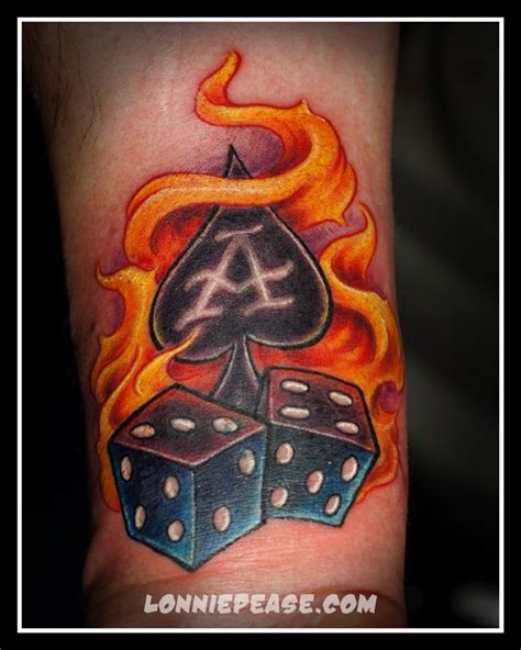 flaming dice tattoo designs flaming ace and dice on arm rj dice