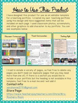 editable teaching portfolio template blue yellow by mrs