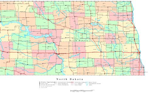 nd map dakota printable map