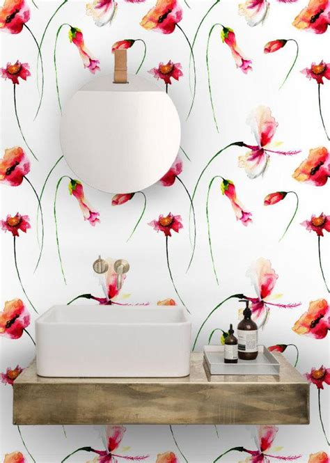peel and stick removable wallpaper poppies watercolor 5pictures flowers wallpaper removable