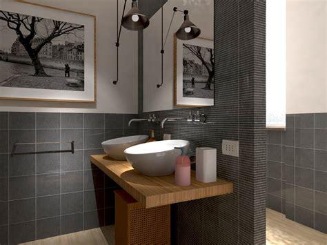 rifare il bagno progetto in 3d con lavatrice quot nascosta