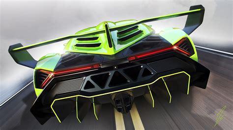 Car Back View Wallpaper by Lamborghini Veneno Green Supercar Back View Wallpaper