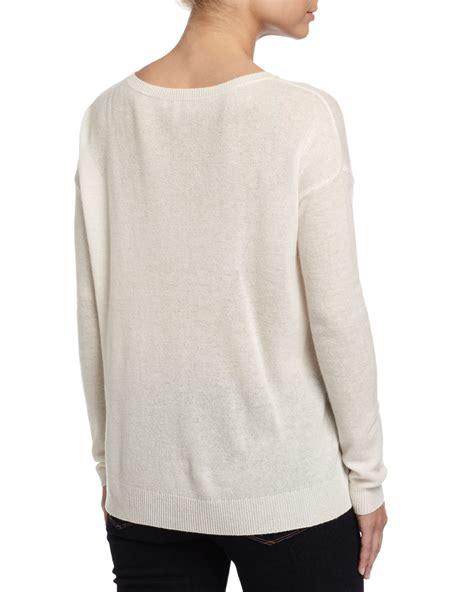 White Color Paint Sweater joie eloisa paint splatter print sweater in white porcelain lyst