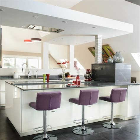modern kitchen island stools white modern kitchen with purple stools housetohome co uk