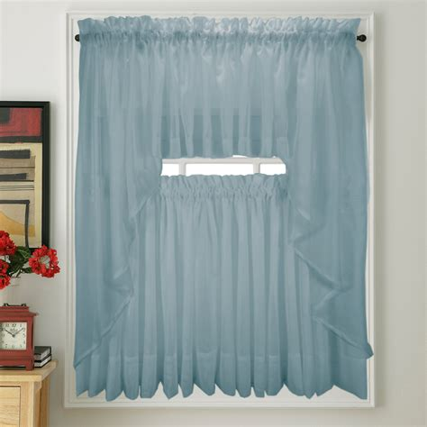 Kitchen Sheer Curtains Kitchen Curtains Blue 60 X 36