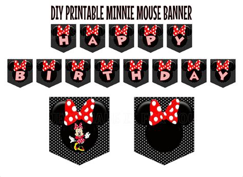 printable minnie birthday banner minnie mouse red with black and white polka dot background
