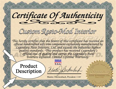 Record Of Certificates Certificates Of Authenticity