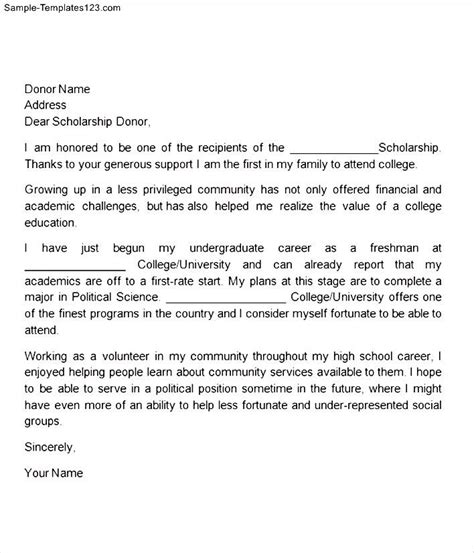 thank you letter for award money thank you letter scholarship donor sle templates