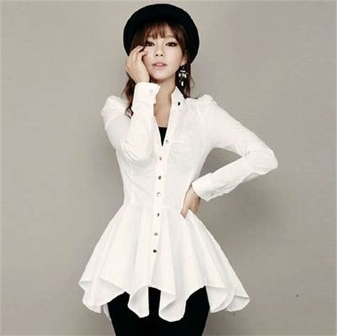Dress Dress Korea Putih White 1 aliexpress buy new asymmetrical sleeve white shirt dress for autumn korean