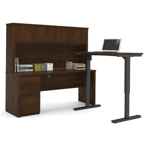bestar prestige l desk bestar prestige l shape desk with hutch in chocolate