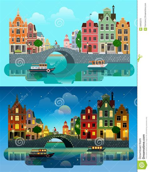 day couch city night line vector illustration of night amsterdam cityscape cartoon
