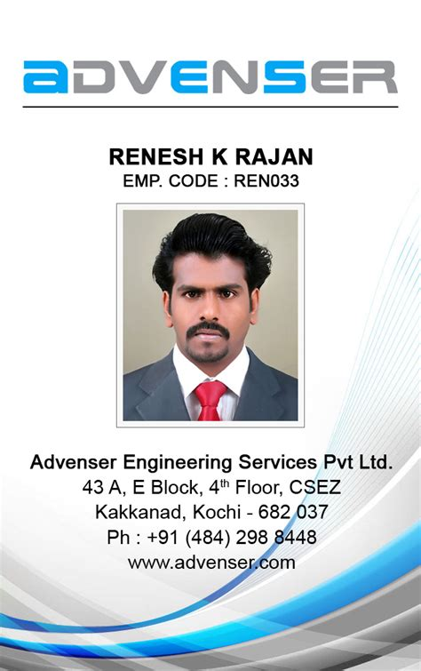 employee id card design sles renesh k r freelance web designer cochin kerala india
