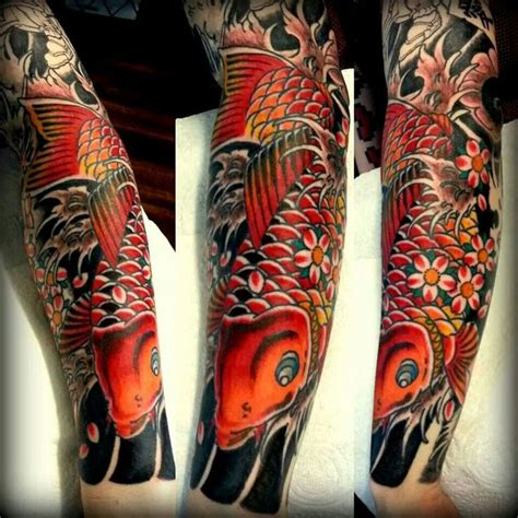 traditional japanese tattoo sleeve japanese sleeve forearm koi colour traditional