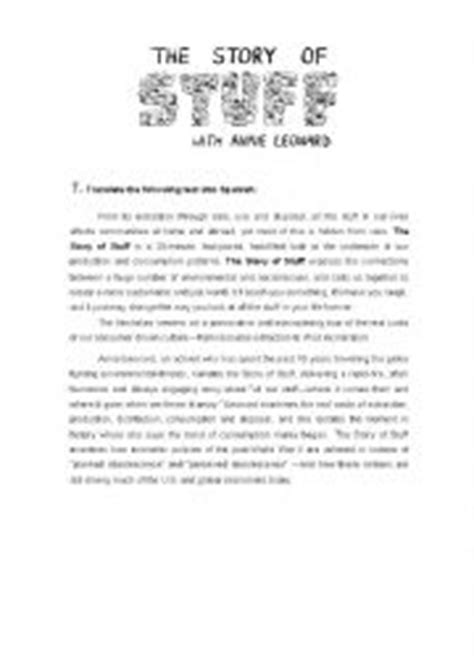 The Story Of Stuff Worksheet by Worksheets Story Of Stuff Worksheet