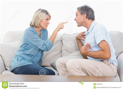 having on couch couple having a fight royalty free stock photography