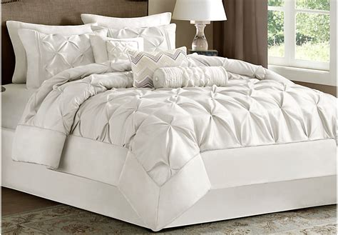janelle white 7 pc queen comforter set queen linens white