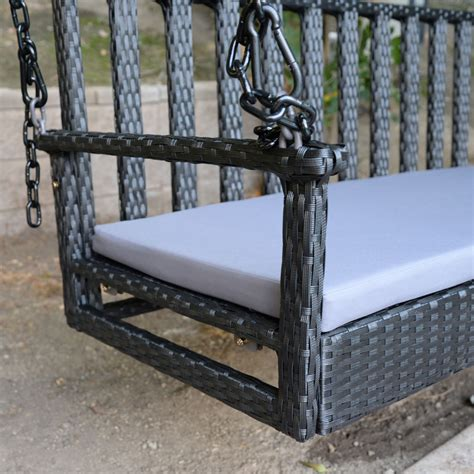 hanging bench black 60 5 quot patio porch swing chair bench resin wicker
