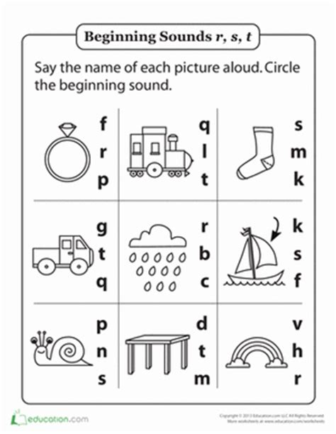 Review beginning sounds r s and t worksheet education com