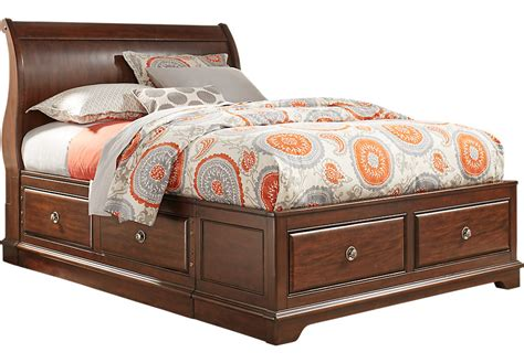 oberon cherry 3 pc sleigh bed with 6 drawer storage
