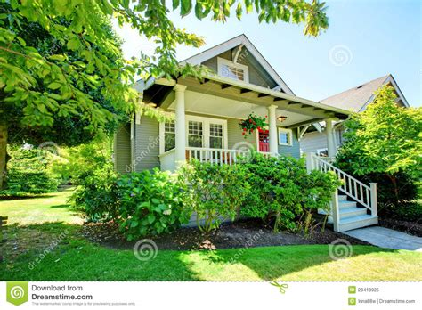 small house whiteangel grey small house with porch and white railings royalty