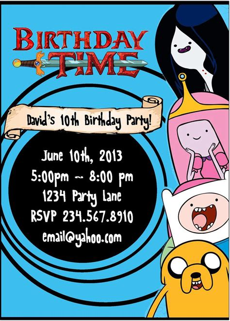 adventure time printable party decorations printable adventure time invitations party invitations ideas