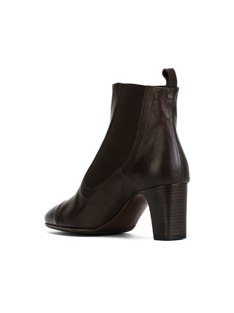 chunky heeled boots lyst laboratorigarbo chunky heel leather boots in brown
