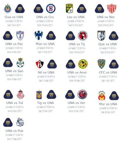 Calendario Liga Mx 2016 Pumas Calendario 2016 De Partidos De Los Pumas