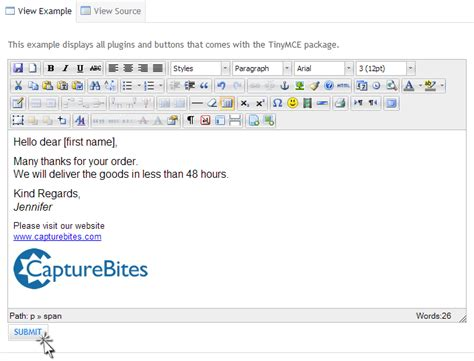 html format body text email export help capturebites