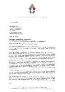 Support Letter Going Concern Sydney Archdiocese Sends Letters To Businesses Expressing Concern Support Of Marriage