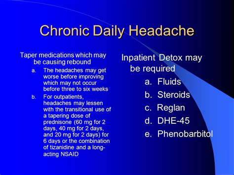 Migraine Rebound Detox by Headaches In Primary Care Ppt